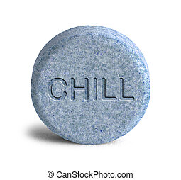 Large Blue Chill Pill Isolated on White Background.