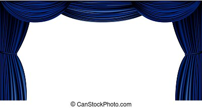 Large blue curtain