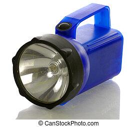 large blue flashlight with reflection on white background