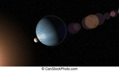 Large blue gas giant planet and a moon orbiting close to a...