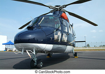 Large, blue helicopter