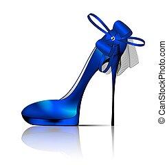large blue shoe - white background and the blue ladys shoe...