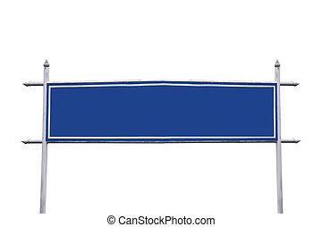 Large blue sign.