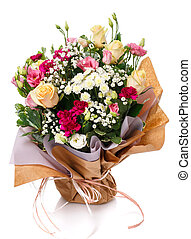Large bouquet of different kinds of colored flowers isolated on a white background.