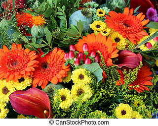 bouquets of flowers with gerberas for sale in the flower market