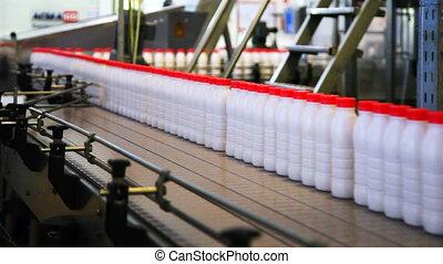 large, bouteilles, convoyeur, mouvement, usine, casquettes, yaourth, rouges, ceinture