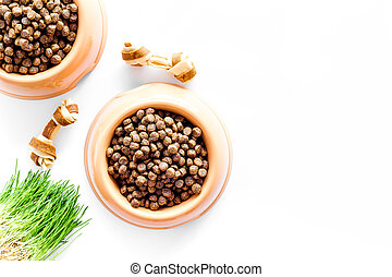 large bowl of pet - dog food with toy and plant on white background top view mockup