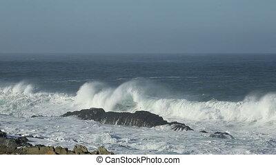 Large braking wave - Seascape with large breaking wave on...
