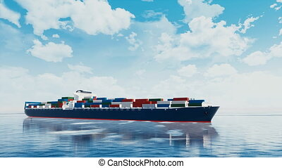Large brandless cargo container ship in ocean 4K - Large...