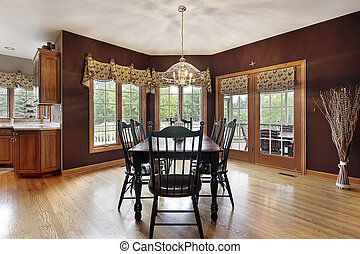 Large breakfast area with doors to deck