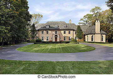 Large brick home in suburbs