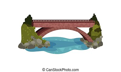 Large bridge over river. Green bushes and grass, stones and water. Landscape element. Flat vector design for map of city park