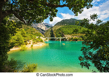 Large bridge over the gorge and  river Verdon