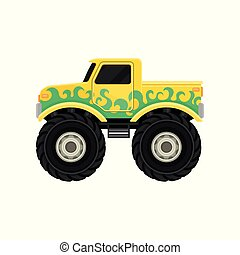 Large bright yellow pickup truck with green decal. Monster car with big tires and black tinted windows. Extreme transport. Flat vector icon