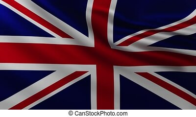 Large British flag background in the wind