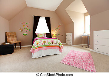 Large brown baby girl bedroom interior with pink and white.