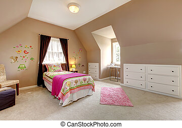 Large brown baby girl bedroom with pink bed.