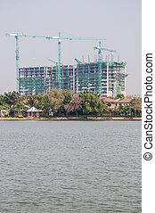 Large building is under construction.