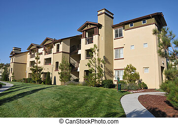 Large building with many living units near field - A three ...