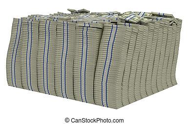 Large bundle of US dollars isolated