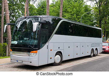 Large Bus - Large bus of grey color is in the way, in the...