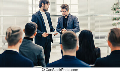 large business team discussing a new strategy at a working meeting
