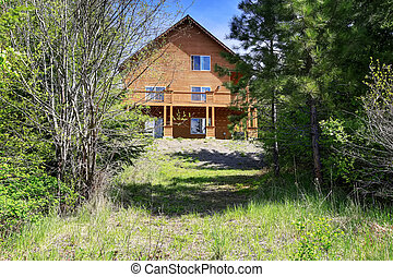 Large Cabin style home in the woods with lots of greenery