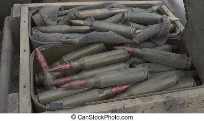 Large-caliber cartridges in a box - Large-caliber cartridges...