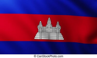 Large Cambodian Flag background fluttering in the wind with wave patterns