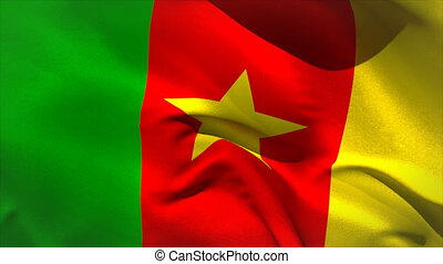 Large cameroon national flag waving filling the screen