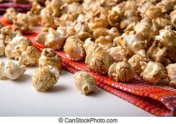 caramel popcorn on a napkin close up