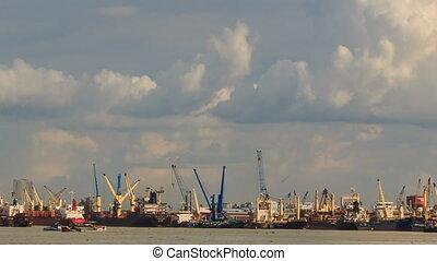Large Cargo City Sea Port Working Cranes Boats Drift