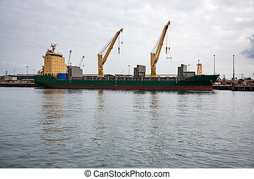 Large cargo ship load containers