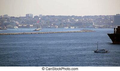 large cargo ship passing Bosporus