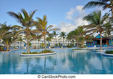 Large caribbean pool with hotel - large caribbean swimming...