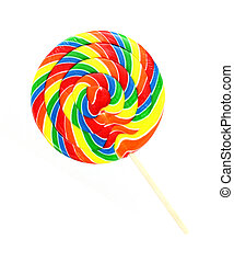 A single large carnival lollipop on a white background.
