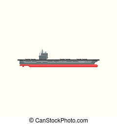 Large cartoon aircraft carrier with military planes on...