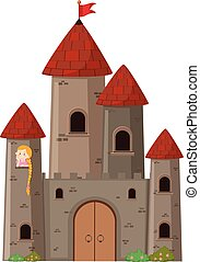 Large castle with princess illustration