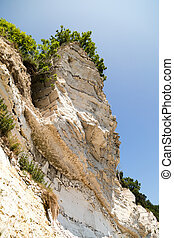 The popular Danish tourist attraction Stevns Klint on a sunny summer day.