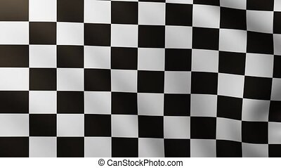 Large Checkered Flag fullscreen background fluttering in the wind with wave patterns
