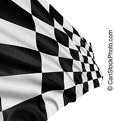 Large Checkered Flag with fabric surface texture. White background.