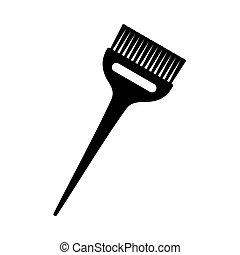 large, cheveux, noir, brosse, teinture, blanc
