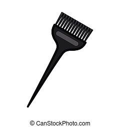 large, cheveux, noir, brosse, teinture, dessin animé