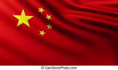 Large China flag background fluttering in the wind with wave...