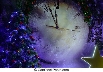 Large Christmas clock with a Christmas tree with toys and a large luminous star