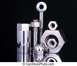 Large chromed nuts and bolts. - Large chromed nuts and bolts...