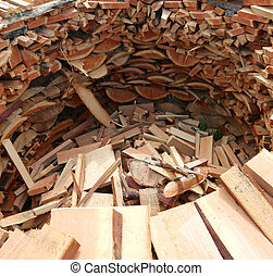 circular wood-burning wood with many pieces of wood cut to warm