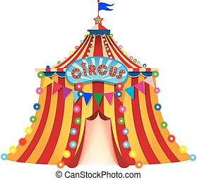 circus - Large circus tent with flag, an open entrance and...