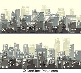 large, city., grand, résumé, bannières, horizontal