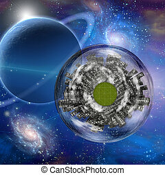 Large city ship orbits in space